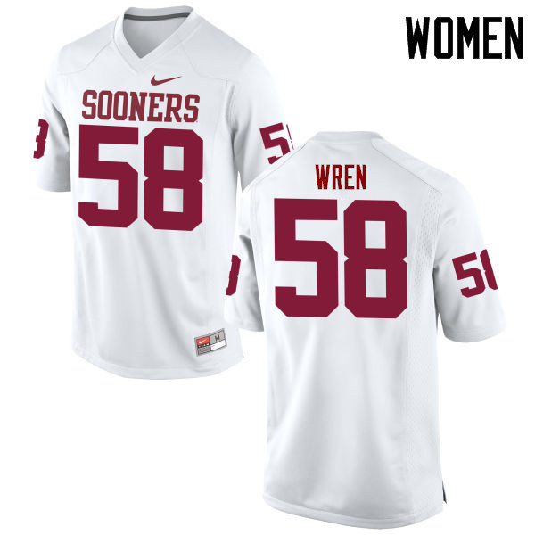 Women Oklahoma Sooners #58 Erick Wren College Football Jerseys Game-White