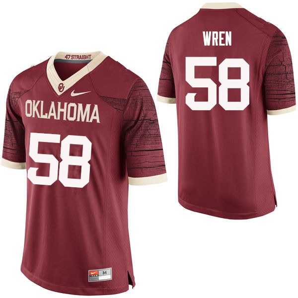 Men Oklahoma Sooners #58 Erick Wren College Football Jerseys Limited-Crimson