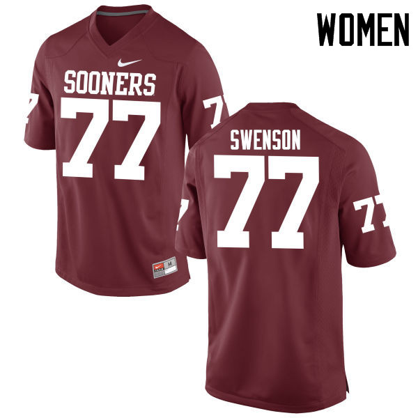 Women Oklahoma Sooners #77 Erik Swenson College Football Jerseys Game-Crimson