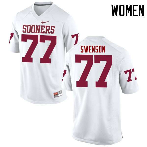 Women Oklahoma Sooners #77 Erik Swenson College Football Jerseys Game-White