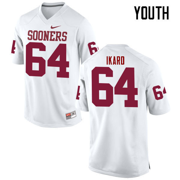 Youth Oklahoma Sooners #64 Gabe Ikard College Football Jerseys Game-White