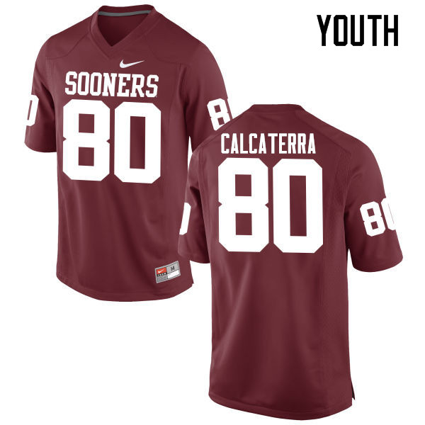 Youth Oklahoma Sooners #80 Grant Calcaterra College Football Jerseys Game-Crimson
