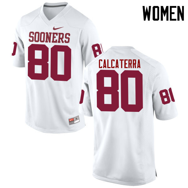 Women Oklahoma Sooners #80 Grant Calcaterra College Football Jerseys Game-White