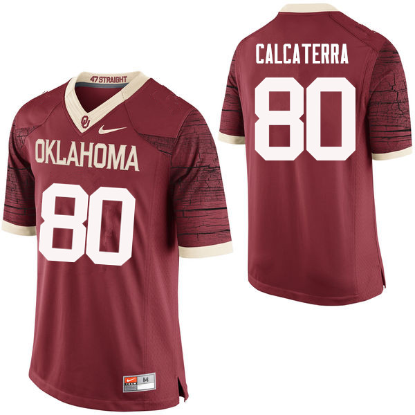 Men Oklahoma Sooners #80 Grant Calcaterra College Football Jerseys Limited-Crimson