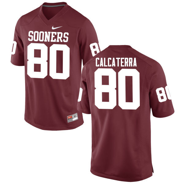 Men Oklahoma Sooners #80 Grant Calcaterra College Football Jerseys Game-Crimson