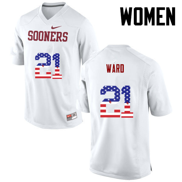 Women Oklahoma Sooners #21 Greg Ward College Football USA Flag Fashion Jerseys-White