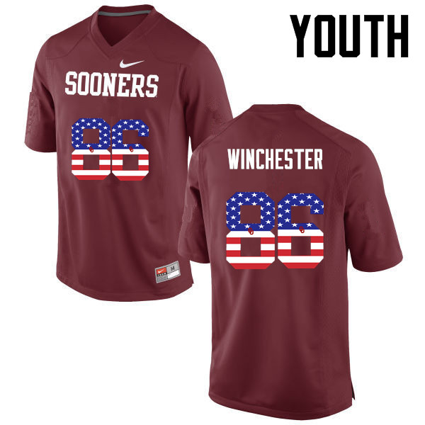 Youth Oklahoma Sooners #86 James Winchester College Football USA Flag Fashion Jerseys-Crimson