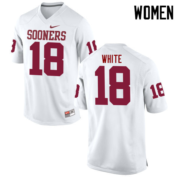 Women Oklahoma Sooners #18 Jason White College Football Jerseys Game-White