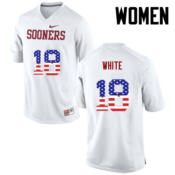 Women Oklahoma Sooners #18 Jason White College Football USA Flag Fashion Jerseys-White