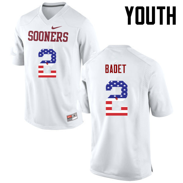 Youth Oklahoma Sooners #2 Jeff Badet College Football USA Flag Fashion Jerseys-White