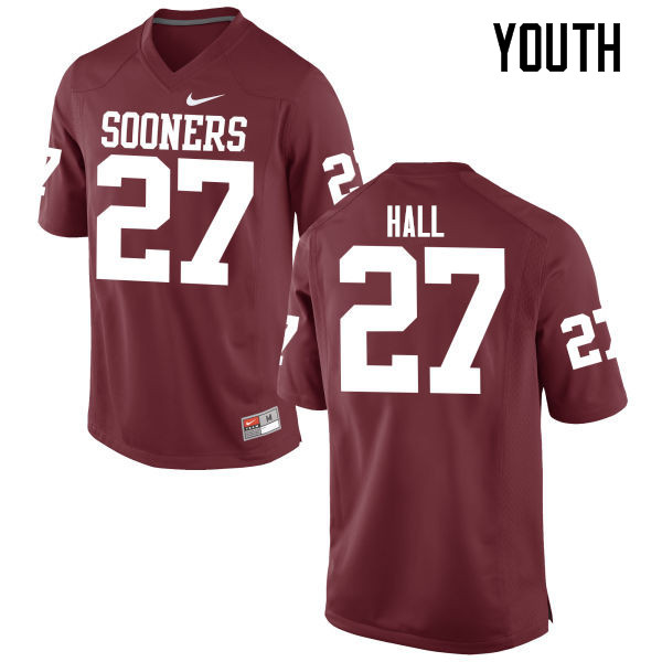 Youth Oklahoma Sooners #27 Jeremiah Hall College Football Jerseys Game-Crimson