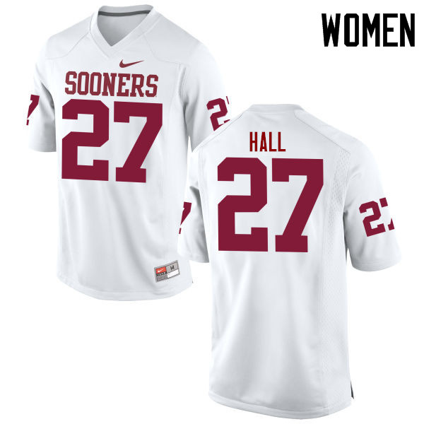 Women Oklahoma Sooners #27 Jeremiah Hall College Football Jerseys Game-White