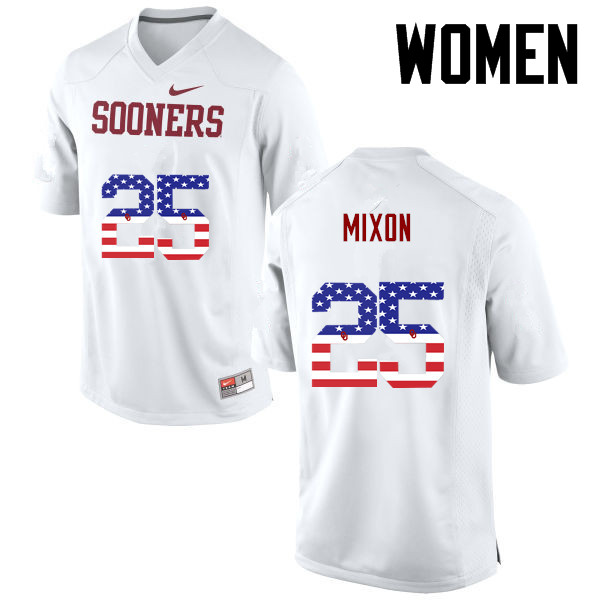 Women Oklahoma Sooners #25 Joe Mixon College Football USA Flag Fashion Jerseys-White