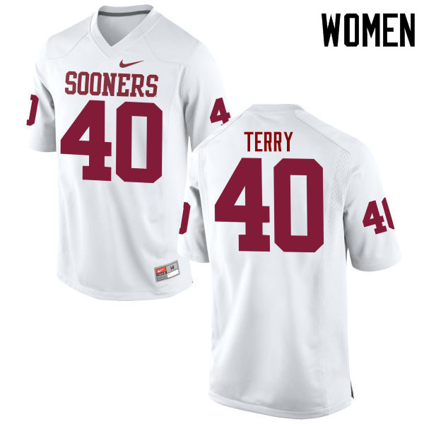 Women Oklahoma Sooners #40 Jon-Michael Terry College Football Jerseys Game-White