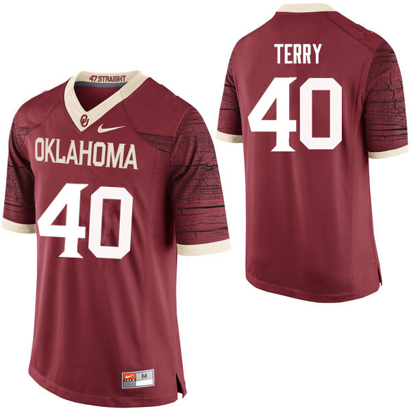 Men Oklahoma Sooners #40 Jon-Michael Terry College Football Jerseys Limited-Crimson