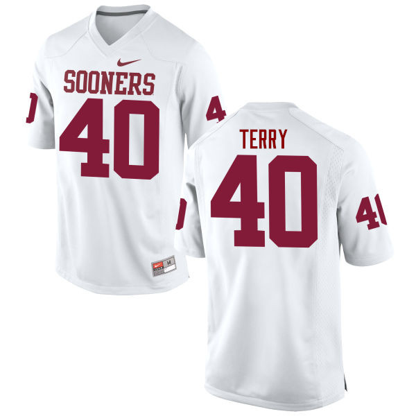 Men Oklahoma Sooners #40 Jon-Michael Terry College Football Jerseys Game-White