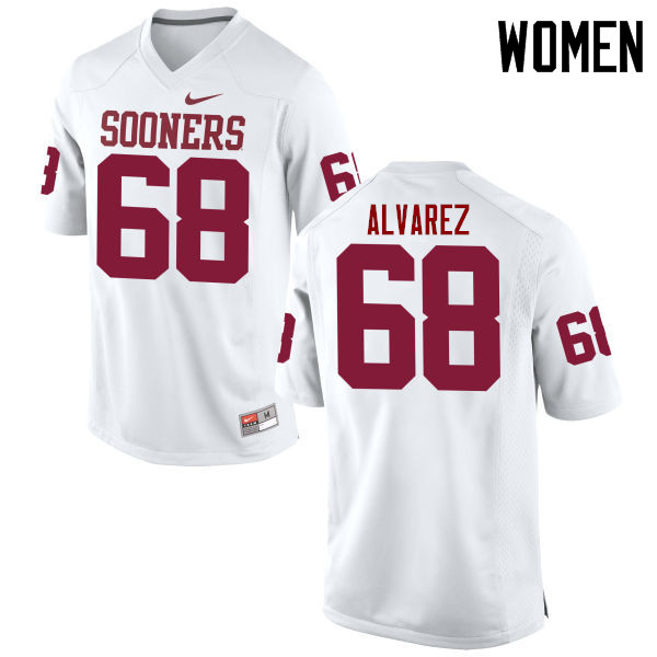 Women Oklahoma Sooners #68 Jonathan Alvarez College Football Jerseys Game-White