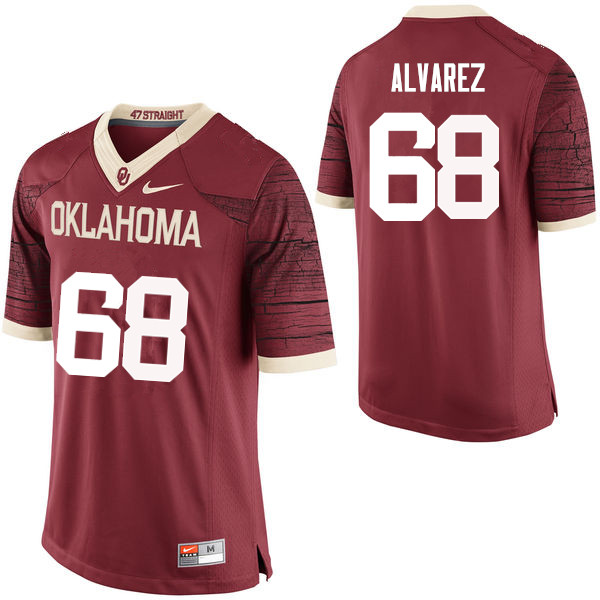 Men Oklahoma Sooners #68 Jonathan Alvarez College Football Jerseys Limited-Crimson