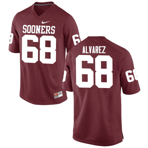 Men Oklahoma Sooners #68 Jonathan Alvarez College Football Jerseys Game-Crimson