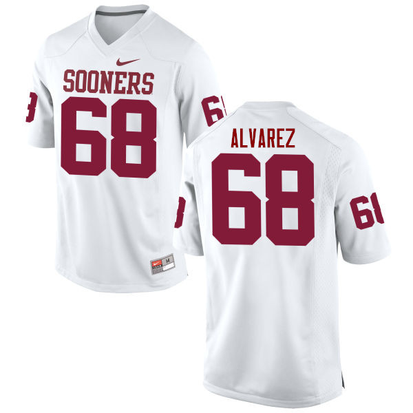 Men Oklahoma Sooners #68 Jonathan Alvarez College Football Jerseys Game-White