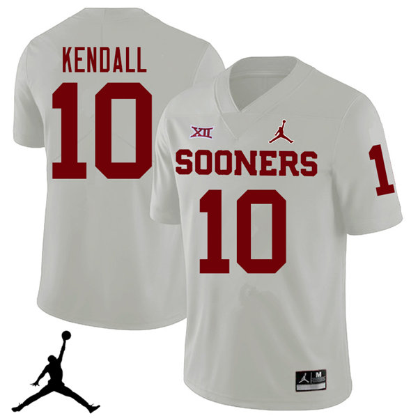 Jordan Brand Men #10 Austin Kendall Oklahoma Sooners 2018 College Football Jerseys Sale-White