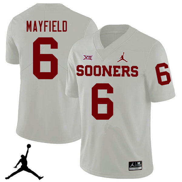 Jordan Brand Men #6 Baker Mayfield Oklahoma Sooners 2018 College Football Jerseys Sale-White