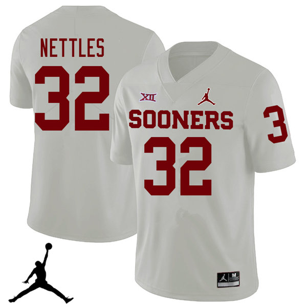 Jordan Brand Men #32 Caleb Nettles Oklahoma Sooners 2018 College Football Jerseys Sale-White