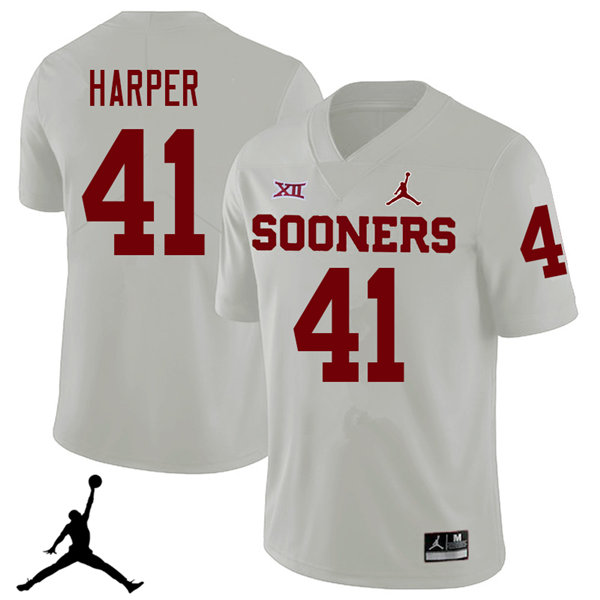 Jordan Brand Men #41 Casey Harper Oklahoma Sooners 2018 College Football Jerseys Sale-White