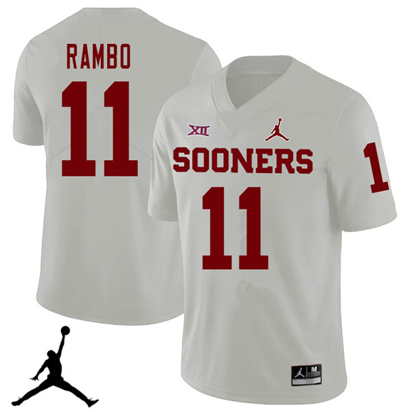 Jordan Brand Men #11 Charleston Rambo Oklahoma Sooners 2018 College Football Jerseys Sale-White