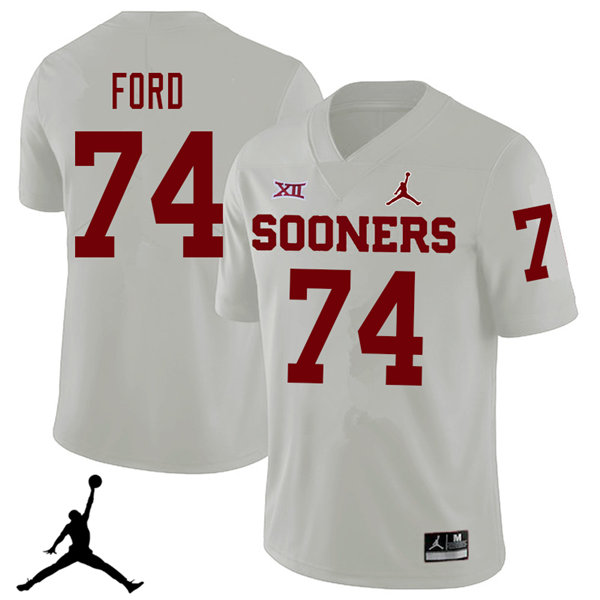 Jordan Brand Men #74 Cody Ford Oklahoma Sooners 2018 College Football Jerseys Sale-White
