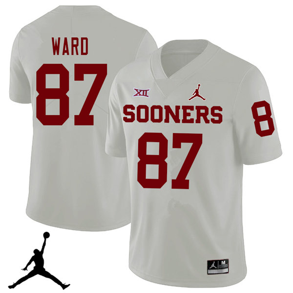 Jordan Brand Men #87 D.J. Ward Oklahoma Sooners 2018 College Football Jerseys Sale-White