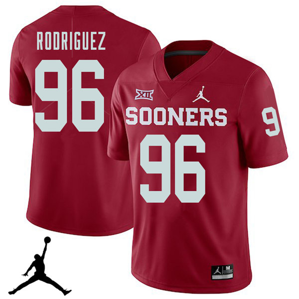 Jordan Brand Men #96 Dalton Rodriguez Oklahoma Sooners 2018 College Football Jerseys Sale-Crimson