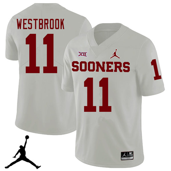 Jordan Brand Men #11 Dede Westbrook Oklahoma Sooners 2018 College Football Jerseys Sale-White