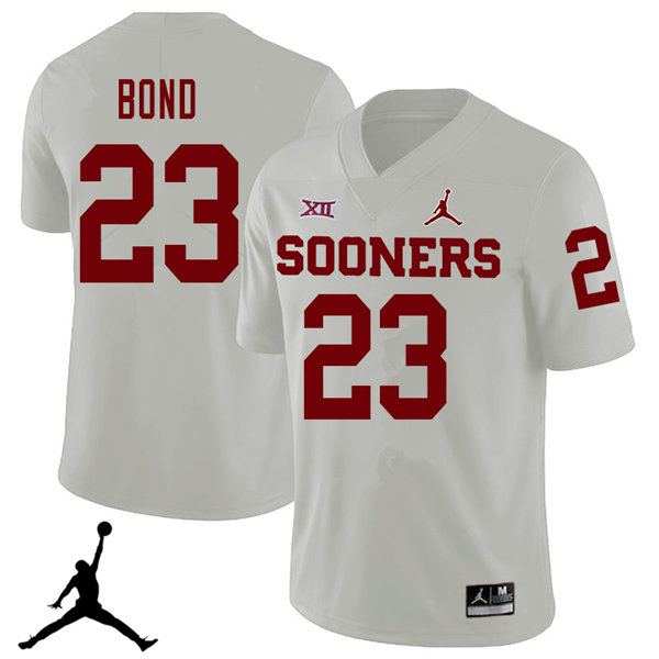 Jordan Brand Men #23 Devante Bond Oklahoma Sooners 2018 College Football Jerseys Sale-White