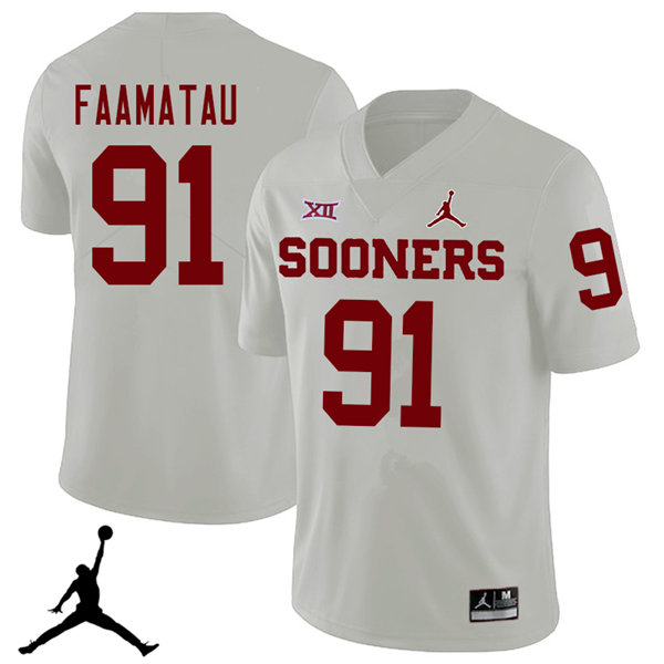 Jordan Brand Men #91 Dillion Faamatau Oklahoma Sooners 2018 College Football Jerseys Sale-White