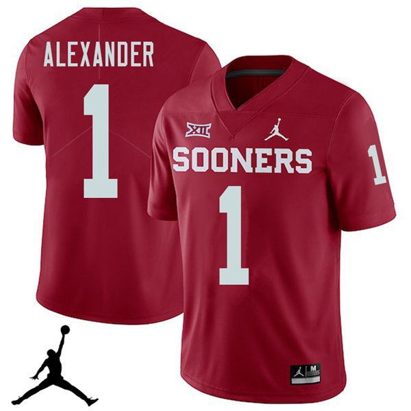 Jordan Brand Men #1 Dominique Alexander Oklahoma Sooners 2018 College Football Jerseys Sale-Crimson