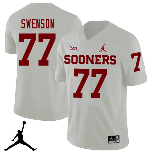 Jordan Brand Men #77 Erik Swenson Oklahoma Sooners 2018 College Football Jerseys Sale-White
