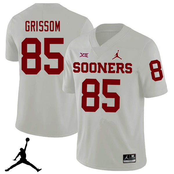 Jordan Brand Men #85 Geneo Grissom Oklahoma Sooners 2018 College Football Jerseys Sale-White