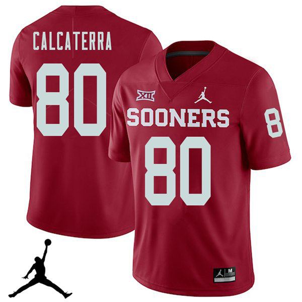Jordan Brand Men #80 Grant Calcaterra Oklahoma Sooners 2018 College Football Jerseys Sale-Crimson