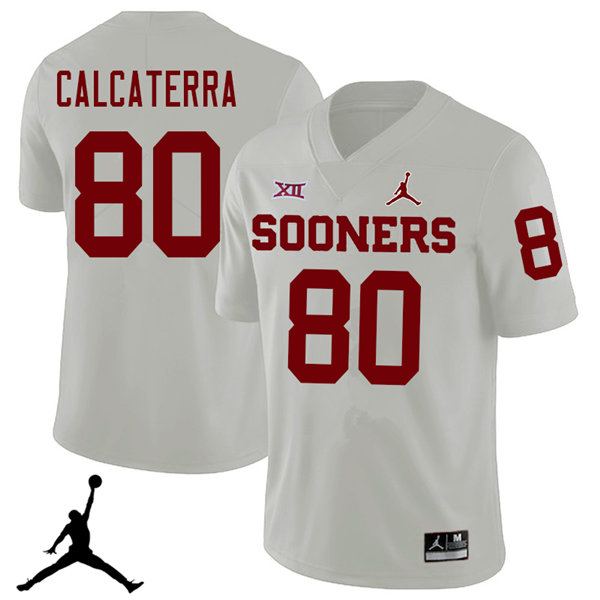 Jordan Brand Men #80 Grant Calcaterra Oklahoma Sooners 2018 College Football Jerseys Sale-White