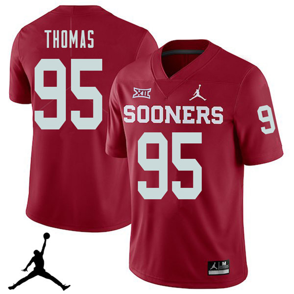 Jordan Brand Men #95 Isaiah Thomas Oklahoma Sooners 2018 College Football Jerseys Sale-Crimson