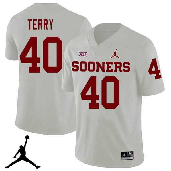 Jordan Brand Men #40 Jon-Michael Terry Oklahoma Sooners 2018 College Football Jerseys Sale-White