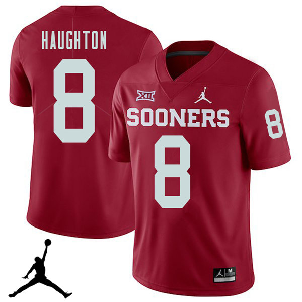 Jordan Brand Men #8 Kahlil Haughton Oklahoma Sooners 2018 College Football Jerseys Sale-Crimson