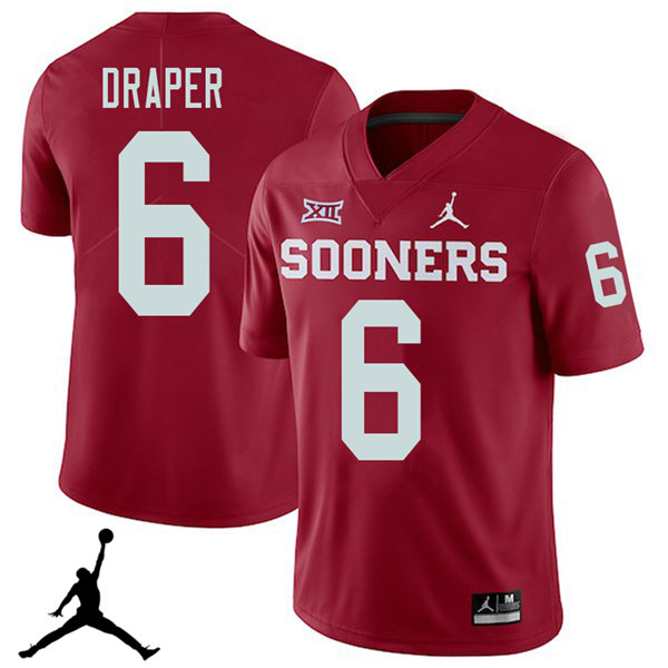 Jordan Brand Men #6 Levi Draper Oklahoma Sooners 2018 College Football Jerseys Sale-Crimson