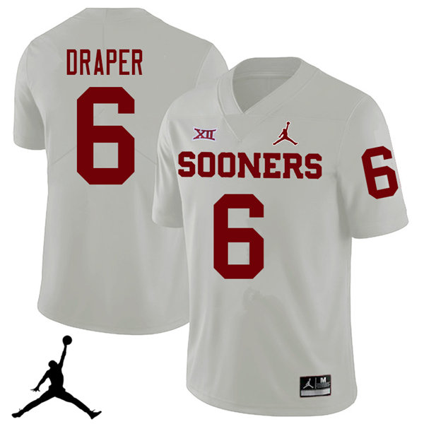 Jordan Brand Men #6 Levi Draper Oklahoma Sooners 2018 College Football Jerseys Sale-White