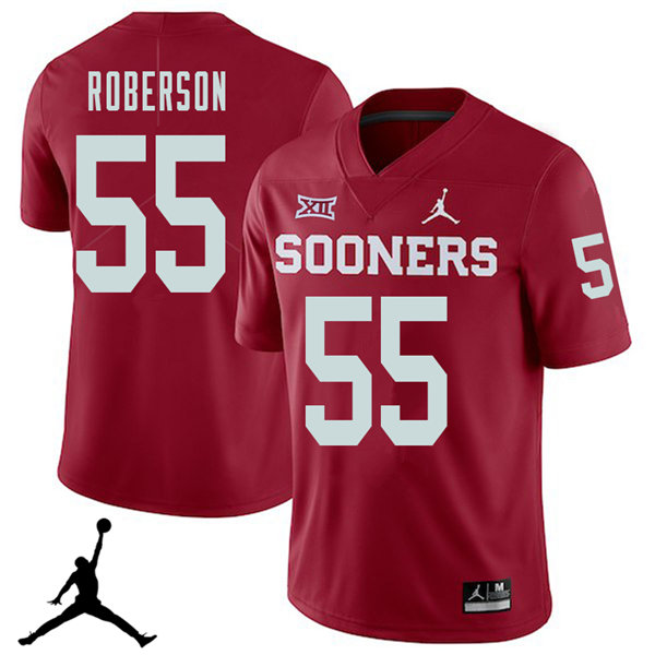 Jordan Brand Men #55 Logan Roberson Oklahoma Sooners 2018 College Football Jerseys Sale-Crimson