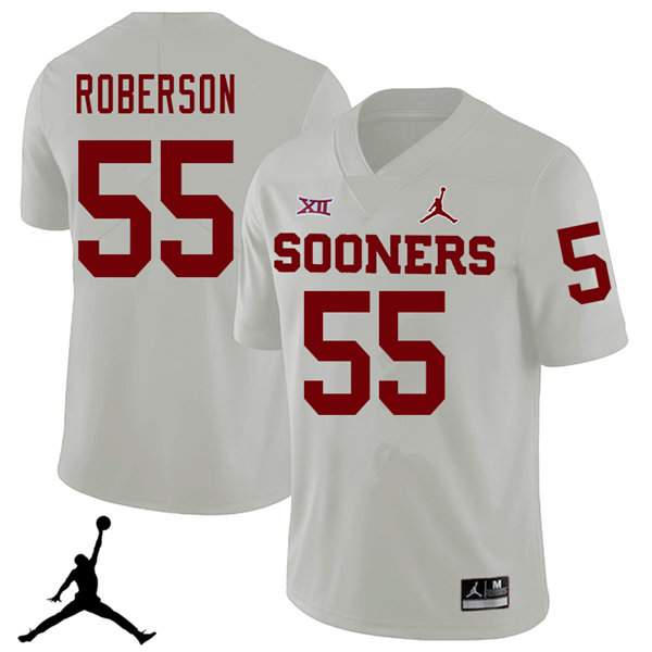 Jordan Brand Men #55 Logan Roberson Oklahoma Sooners 2018 College Football Jerseys Sale-White