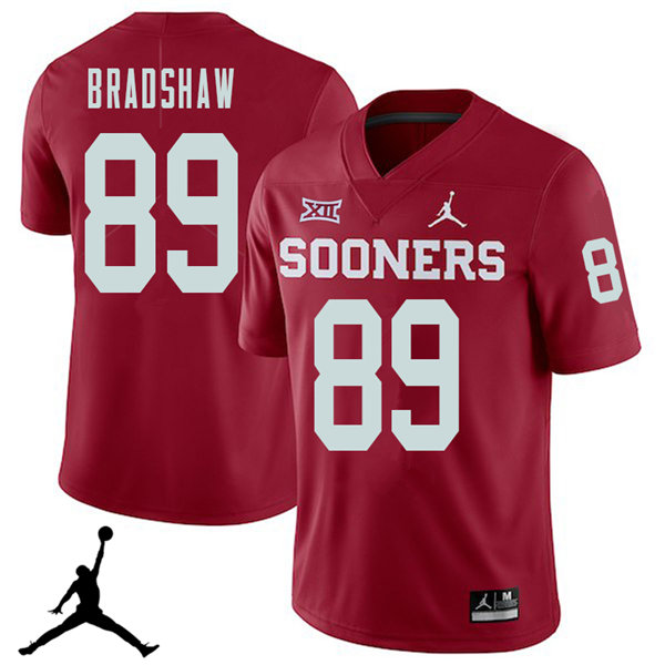 Jordan Brand Men #89 Malik Bradshaw Oklahoma Sooners 2018 College Football Jerseys Sale-Crimson