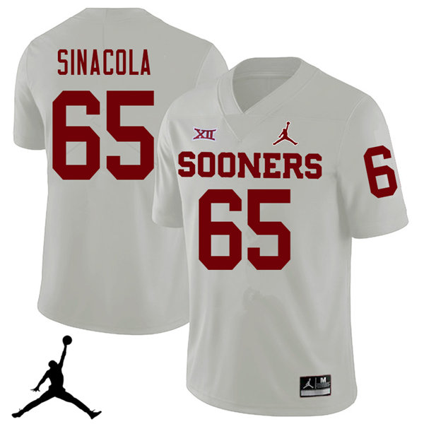 Jordan Brand Men #65 Mario Sinacola Oklahoma Sooners 2018 College Football Jerseys Sale-White