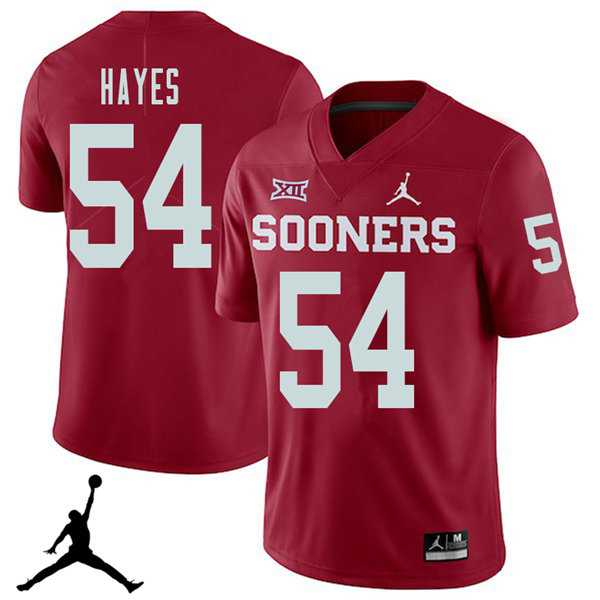 Jordan Brand Men #54 Marquis Hayes Oklahoma Sooners 2018 College Football Jerseys Sale-Crimson